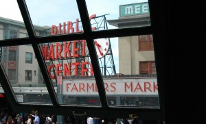Pike Place market, taken from a place that's not a starbucjs