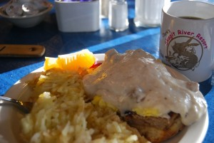 Wake up in a field of bunnies and they have Eggs Bunnydict on the menu? Count me in,. (No bunnies were harmed in the making of this, it's English muffin, poached egg, sausage patty and biscuits and gravy - very very very 'Muirican).