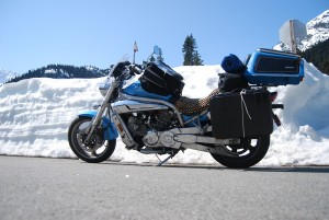 I'm going to mount a snow plough on the bike. At Washington Pass,  5,477' up.